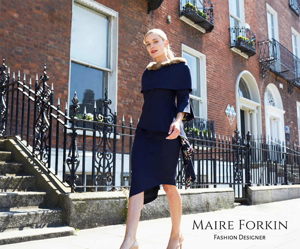 Exclusive designer custom made Mother of the bride winter dresses by Dubin Fashion Designer Maire Forkin. Maire uses exquisite french and Italian fabrics.