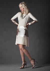 Midi Two Layered Skimmer Dress in Italian wool