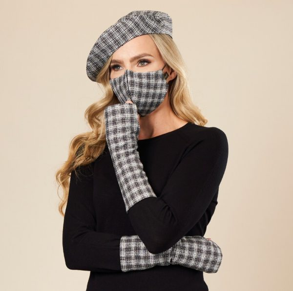 Black and White Check Face Mask and Matching Scarf