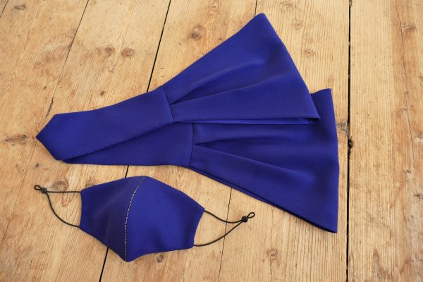 Deep Blue Wool Face Mask and Scarf by Maire Forkin Designs