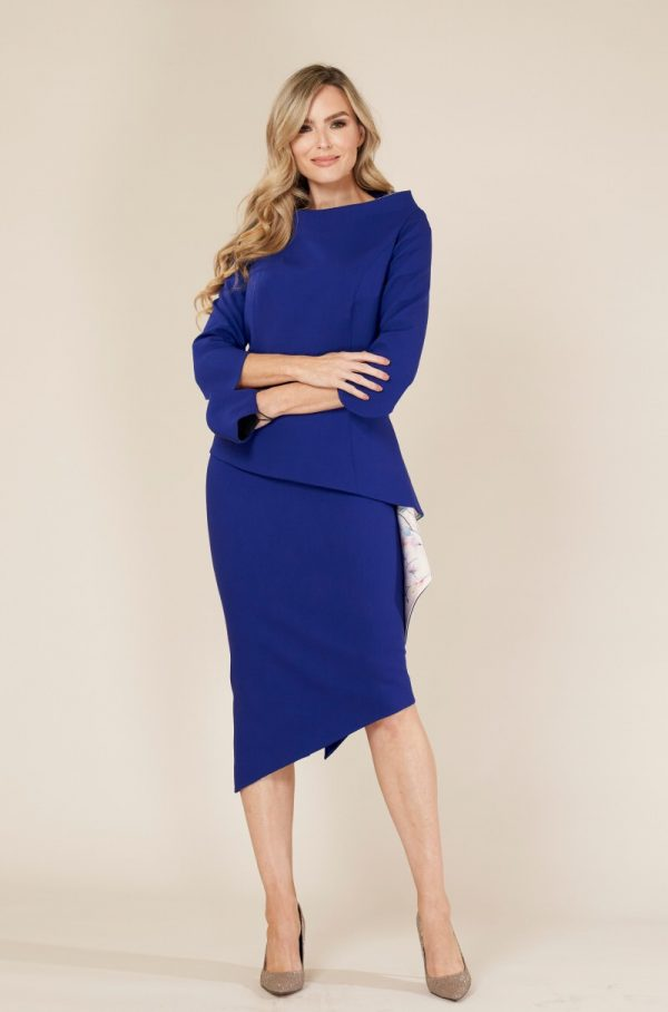 Deep Blue Wool Guest at Wedding Outfit