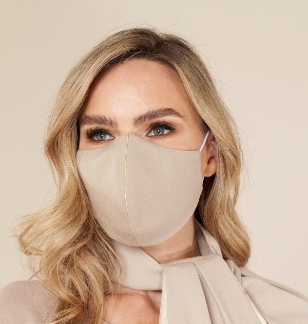 Taupe Wool Designer Face Mask for wedding guests hand made in Ireland.