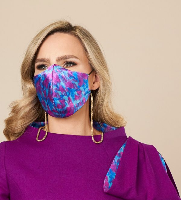 Purple and Pink silk face covering