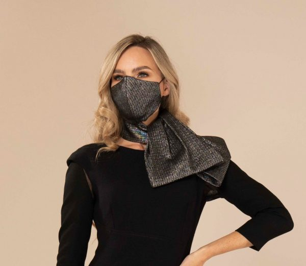 Pewter Wool & Lurex Face Mask and Scarf