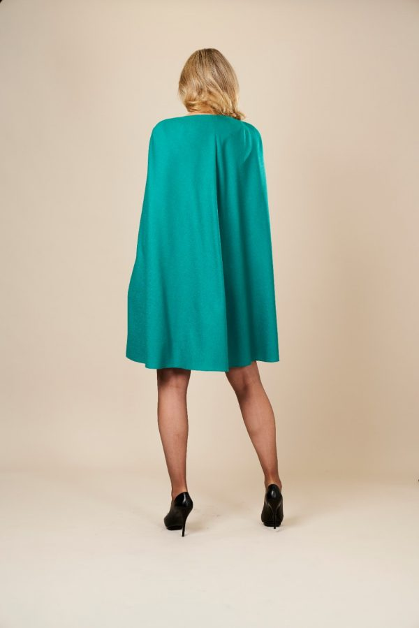 Green Wool Cape Dress by Maire Forkin Designs