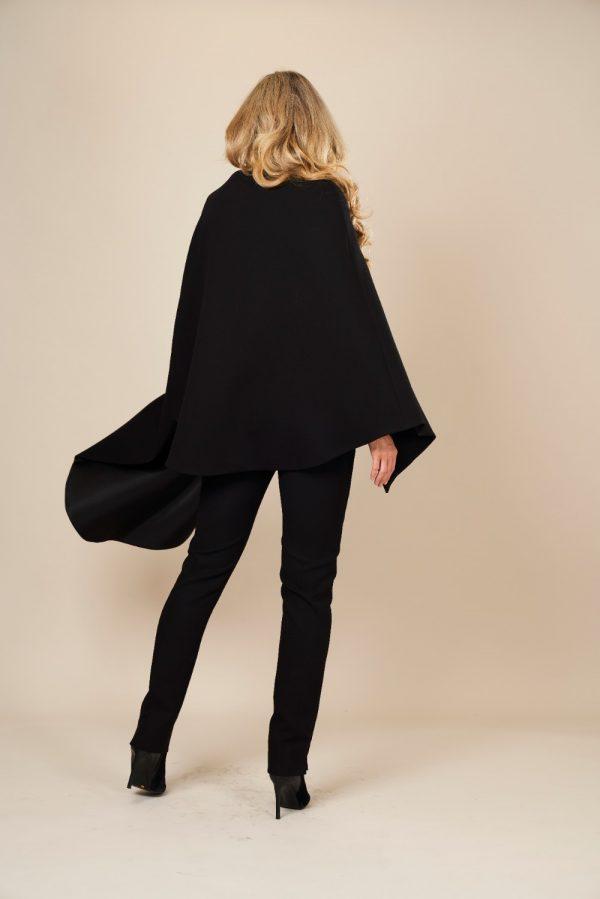 Black wool crepe cape coat
