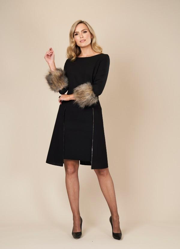 Black Wool Two Layered Dress