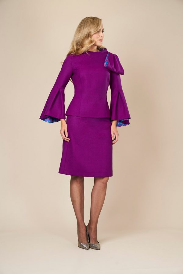 Purple wool two piece outfit by Maire Forkin