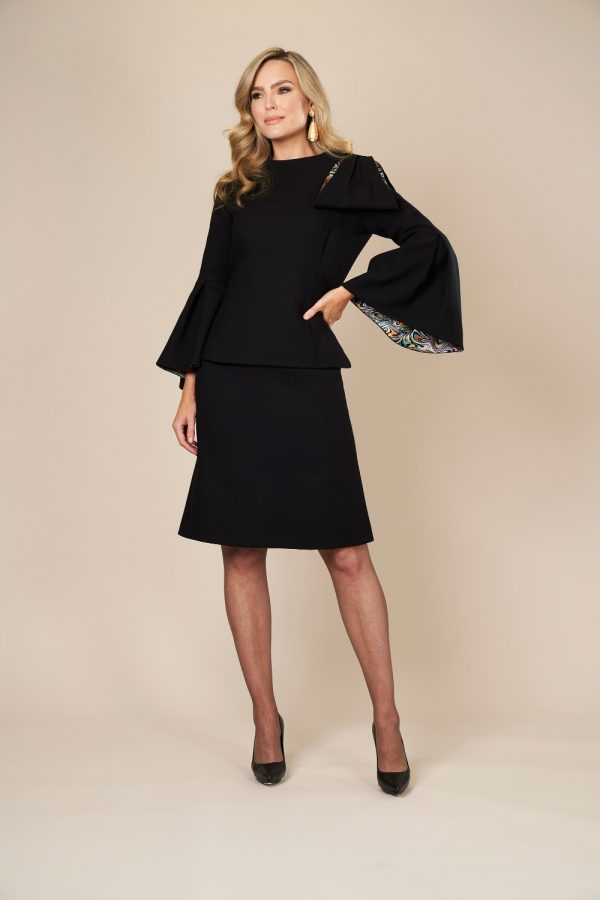 Designer Two piece outfit with silk trim