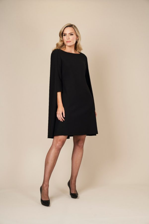 Black Wool Cape Midi Dress by Maire Forkin Designs