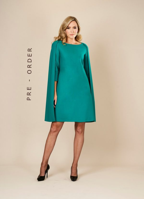 Green Wool Cape Style Midi Dress by Maire Forkin Designs