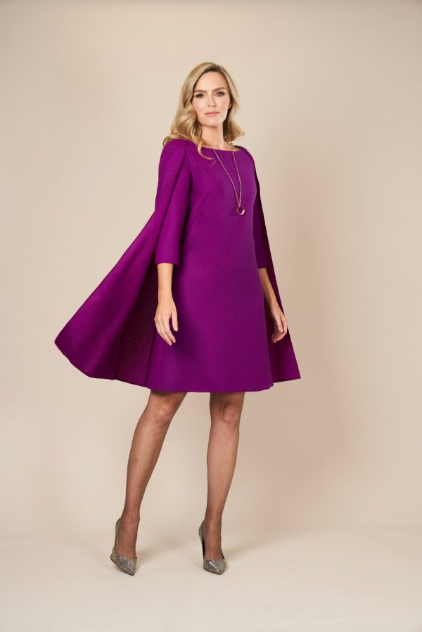 Purple Wool Cape Midi Dress by Maire Forkin Designs